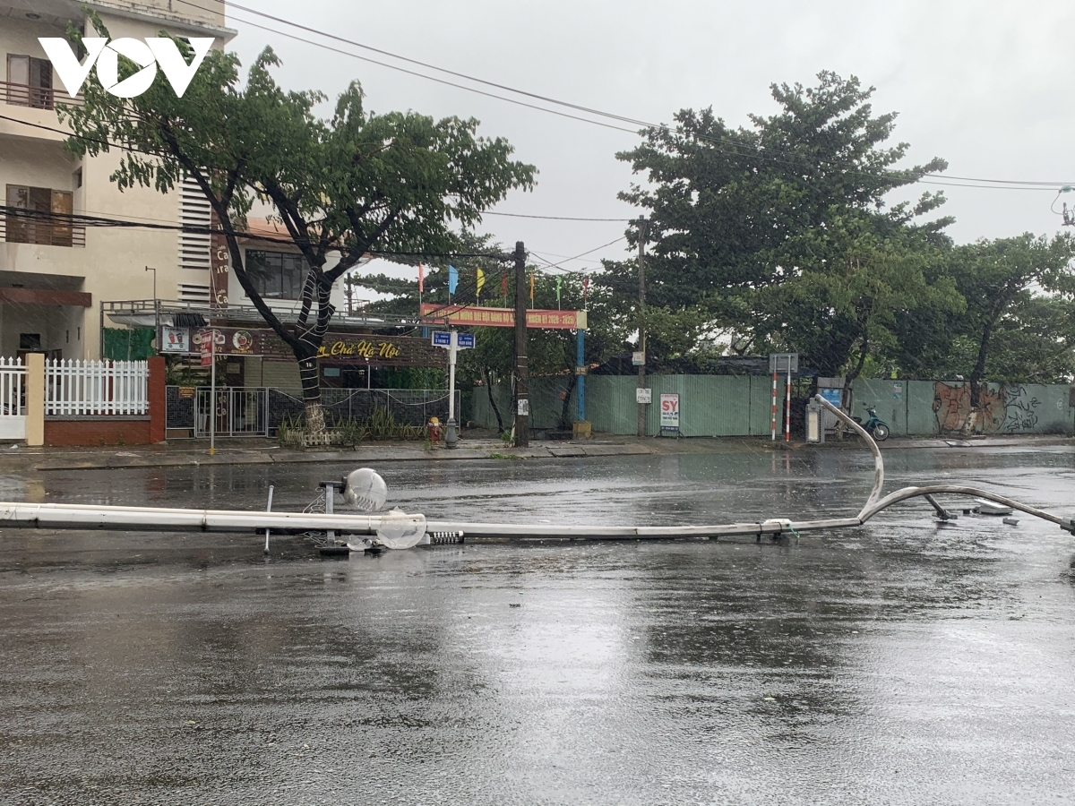 Electricity poles and street lamps are pulled down in Phu Yen province.