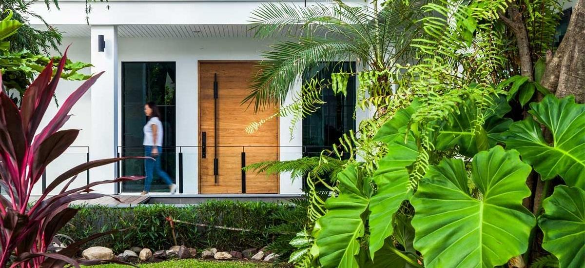 Nhìn từ bên ngoài ngôi nhà đã rất thu hút, hấp dẫn bởi màu xanh tự nhiên.