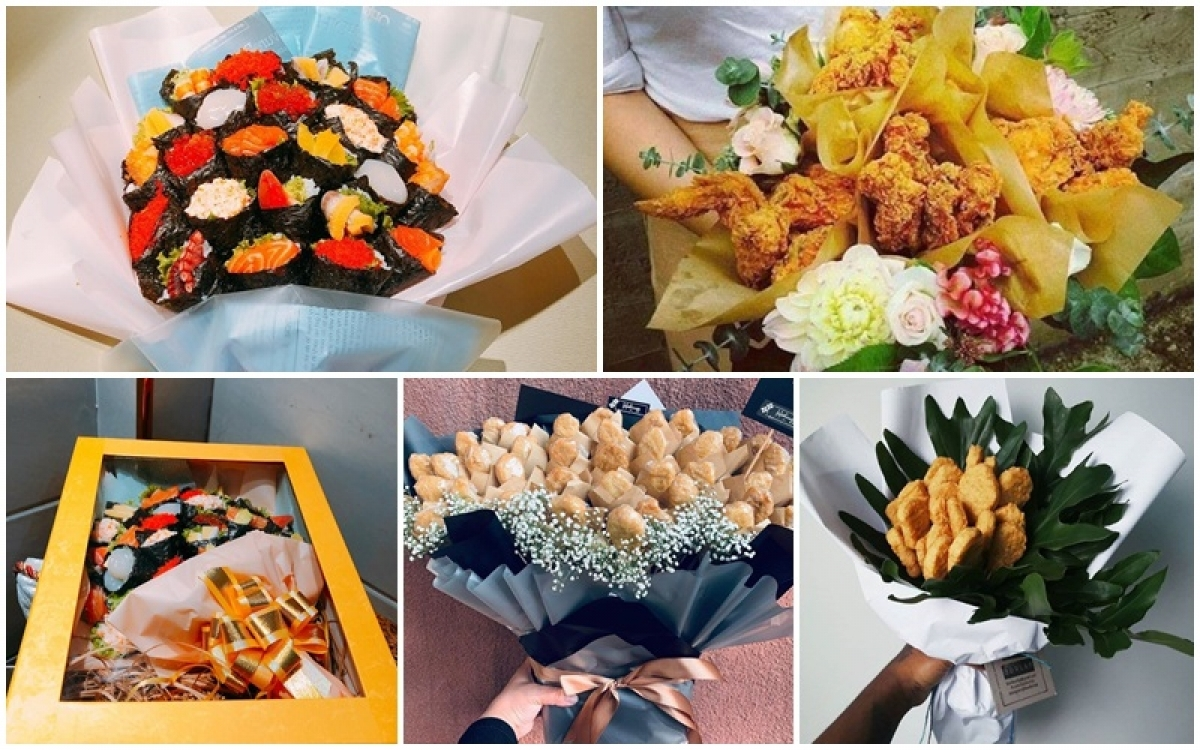 The strange range of bouquets made from food seems to excite potential customers.