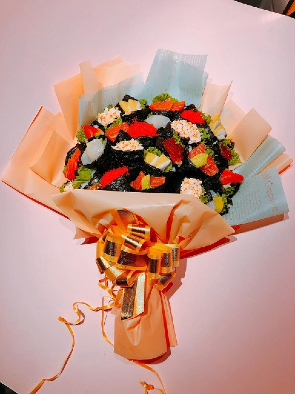 A unique bouquet made from sushi represents a gift to mark the annual Vietnam Teachers' Day celebrations of November 20.