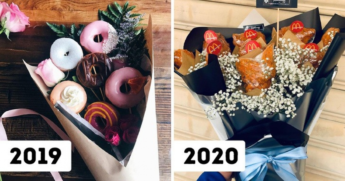 Bouquets featuring food such as sausages, bacon, and even items from McDonald's seem to be attractive gifts in recent years.