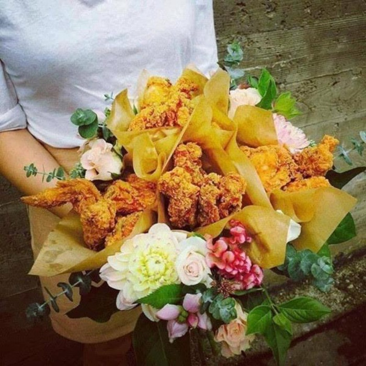 A tasty fried chicken bouquet is a leading choice among customers.