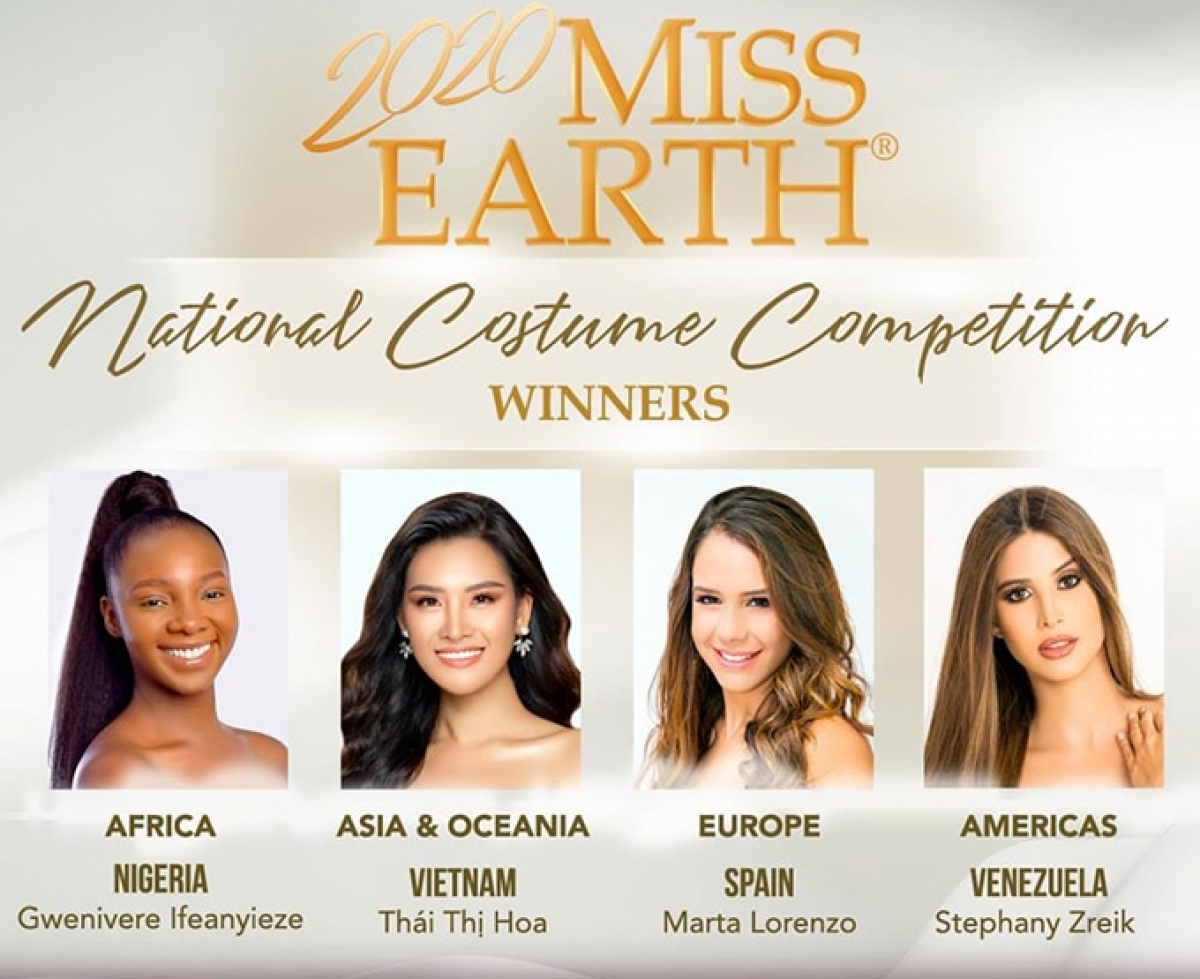 Gwenivere lfeanyieze of Nigeria also won the gold prize in the national costume contest in Africa, while Marta Lorenzo of Spain claimed first place in the European region. Elsewhere, Stephany Zreik of Venezuela won first prize in the Americas.