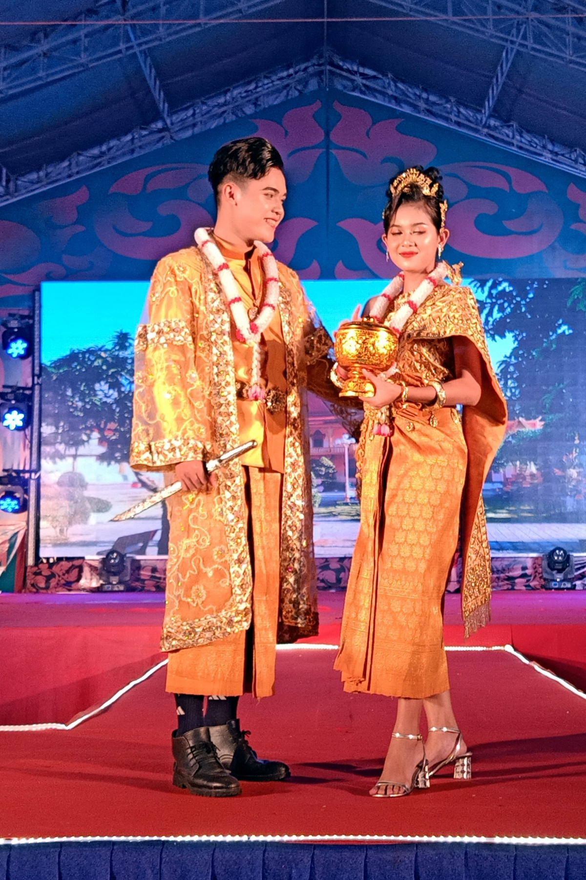 The fashion show witnesses traditional Khmer wedding outfits updated to suit a more modern style.