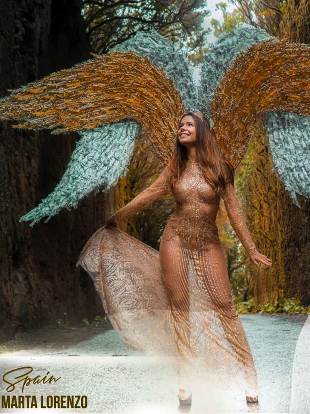 Here are some of the amazing images of each of the beauty pageant's contestants as they don angel costumes:Marta Lorenzo of Spain