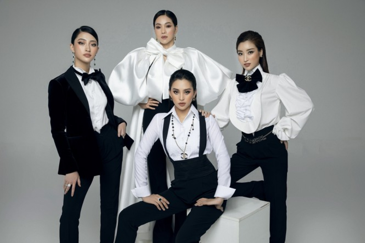 Pham Kim Dung, a member of the competition's organising board, Do My Linh, Miss Vietnam 2016, Tran Tieu Vy, Miss Vietnam 2018, and Luong Thuy Linh, Miss World Vietnam 2019, pose in a menswear-style photoshoot ahead of the start of the Miss Fashion sub-category.