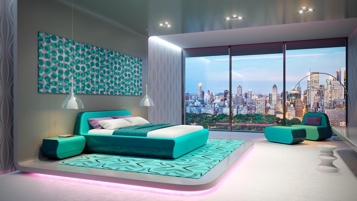 Sử dụng màu ngọc lam tươi sáng giúp phòng ngủ trở nên tươi tắn, đầy cảm hứng.