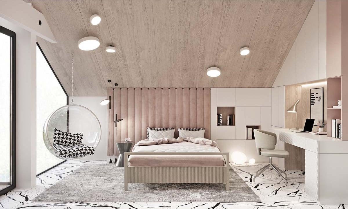 Một chiếc ghế đu kết hợp tông màu hồng phấn góp phần nên phòng ngủ nhẹ nhàng, êm dịu.