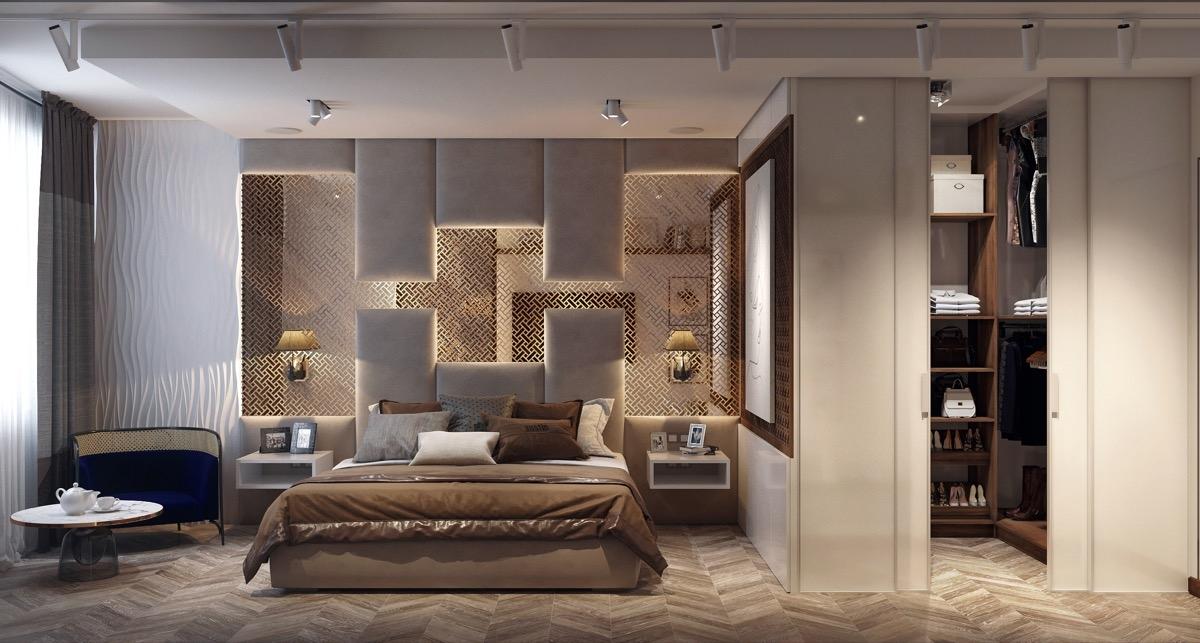 Phòng ngủ trở thành một tác phẩm nghệ thuật dày công, tỉ mỉ.