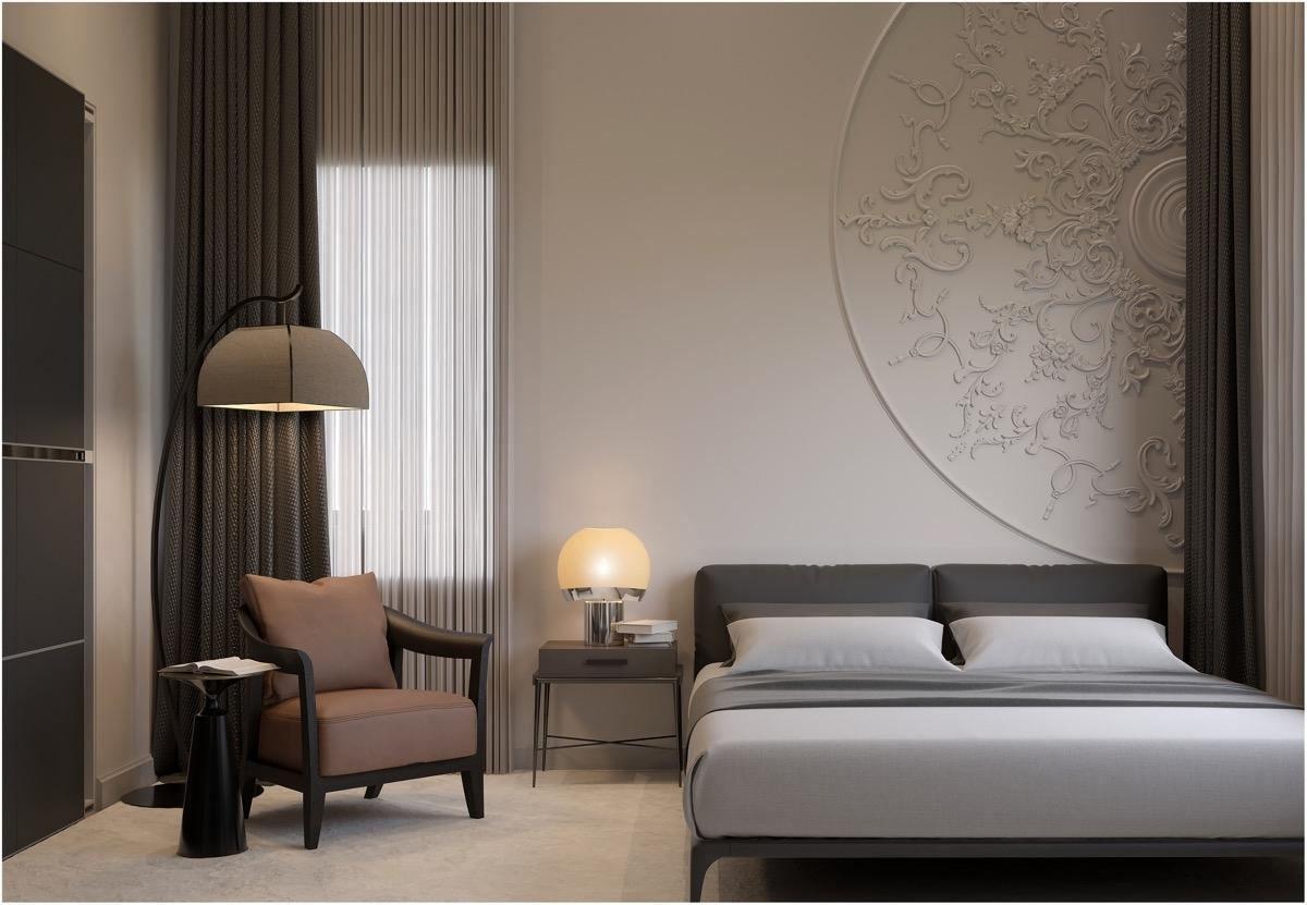 : Các khuôn hình tròn sẽ là điểm nhấn ấn tượng trong phòng ngủ đặc biệt này.