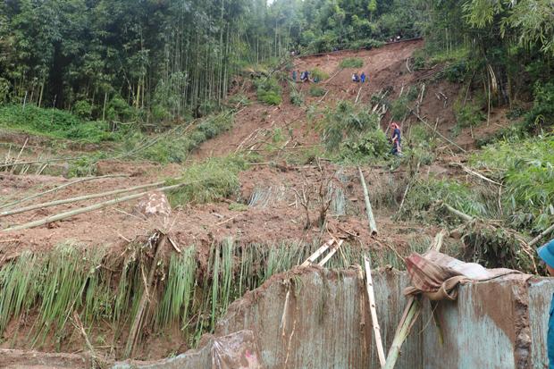 Vị trí sạt lở đất gây chết người tại thôn Tân Phong, xã Hồ Thầu huyện Hoàng Su Phì. Ảnh : ĐỨC LONG (Hoàng Su Phì)