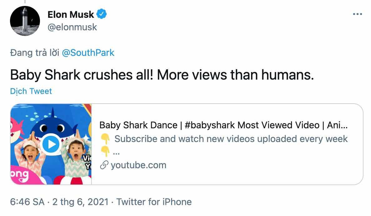 Elon Musk chia se video Baby Shark anh 1