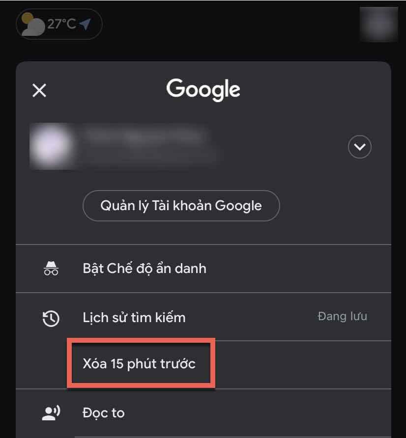Xoa lich su tim kiem Google anh 1