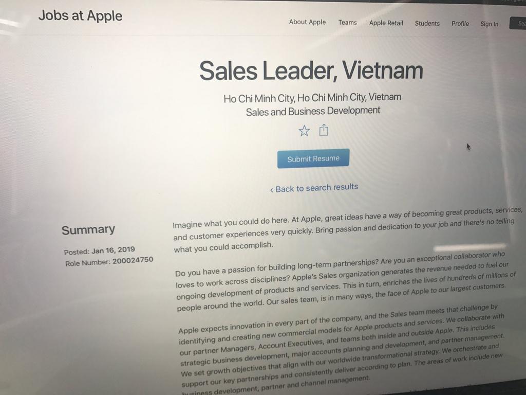 Dau hieu Apple sap mo nha may iPhone o Viet Nam hinh anh 3 Apple_tuyen_dung_1.jpg