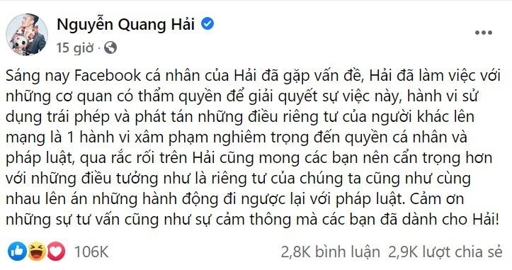 Quang Hai bi hack Facebook anh 2