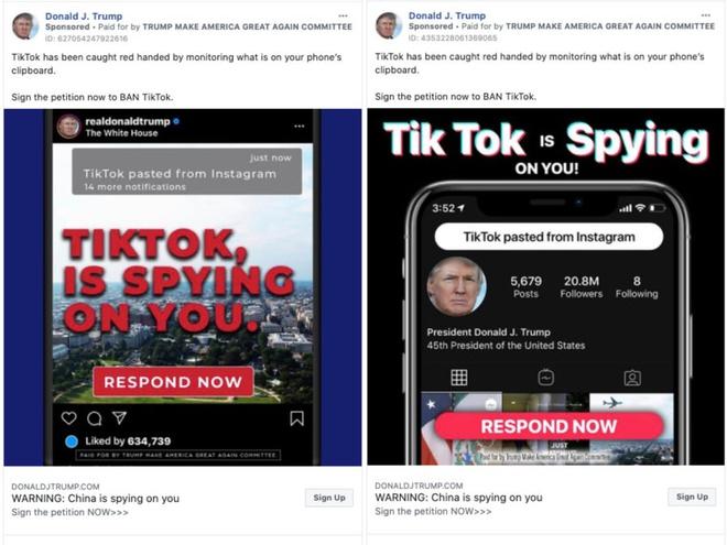 Tong thong Trump dung quang cao keu goi chong lai TikTok anh 1