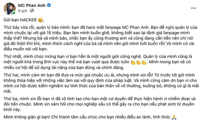 MC Phan Anh bi hack fanpage tren Facebook anh 1